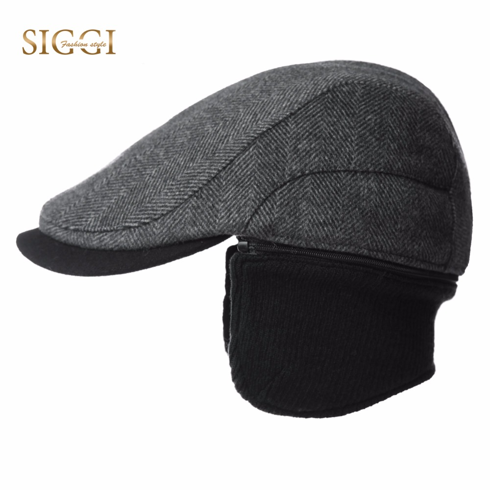 dcb8e7d905a 2018 Black Brown Genuine Leather Male Winter Warm Hat 2018 Brand Cowskin  Visor Cap Senior Men Ear Protection Baseball Hat Caps