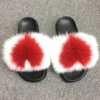 RUIYEE ladies fox fur slippers fashion real hair slippers furry air conditioning shoes ladies shoes outdoor beach shoes