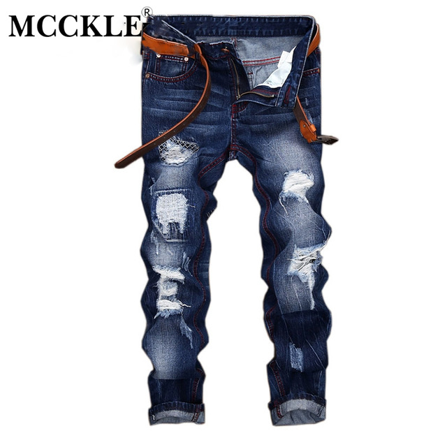 Mens High Street Ripped Hole Washed Denim Jeans Distressed Hip Hop Pants Slim Fit For Men 2019 Autumn Male Streetwear Trousers