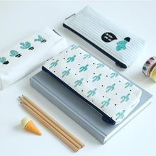 Cactus Pencil Case Canvas School Supplies Kawaii Stationery Estuches Chancery School Cute Pencil Box Pen Bags Penalty