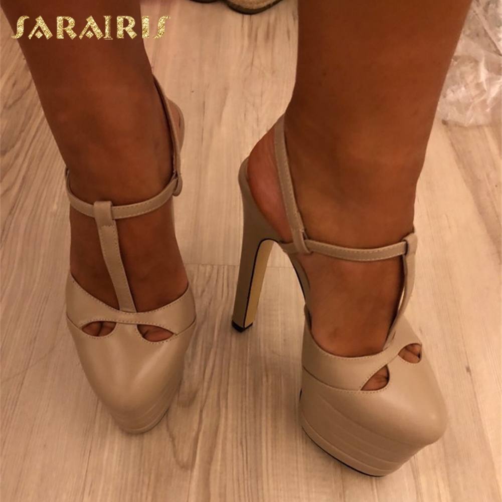 SARAIRIS Large Sizes 33-42 sheepskin leather Summer Women Shoes Woman <font><b>High</b></font> <font><b>Heels</b></font> <font><b>Platform</b></font> Party Wedding <font><b>Sandals</b></font> Women PUMPS image