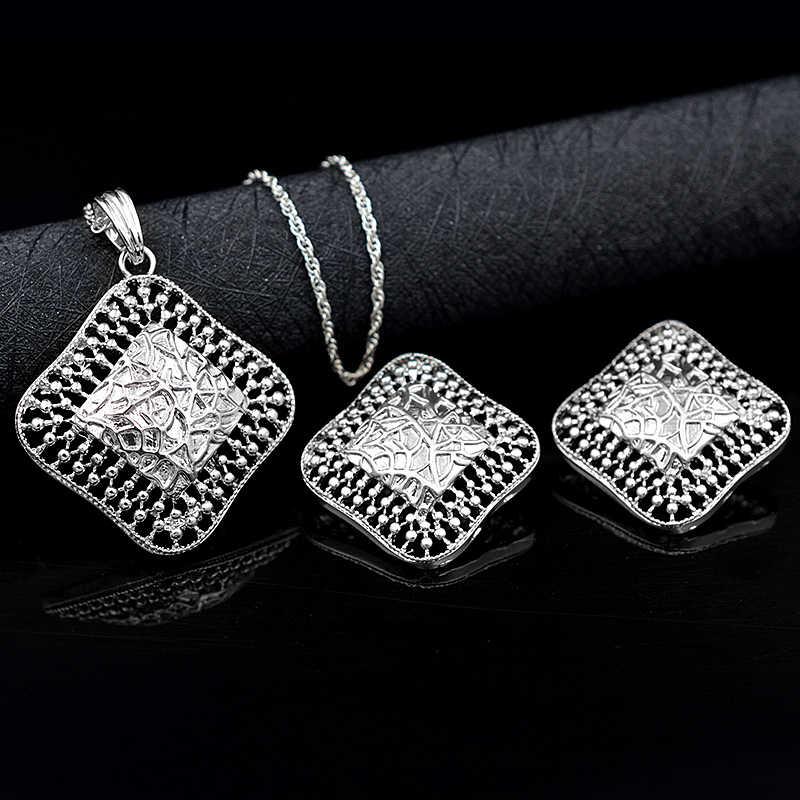 Ensoleillé bijoux en alliage carré évider femmes ensembles de bijoux collier boucles d'oreilles pendentif pour fête de mariage quotidien Vintage bijoux cadeau