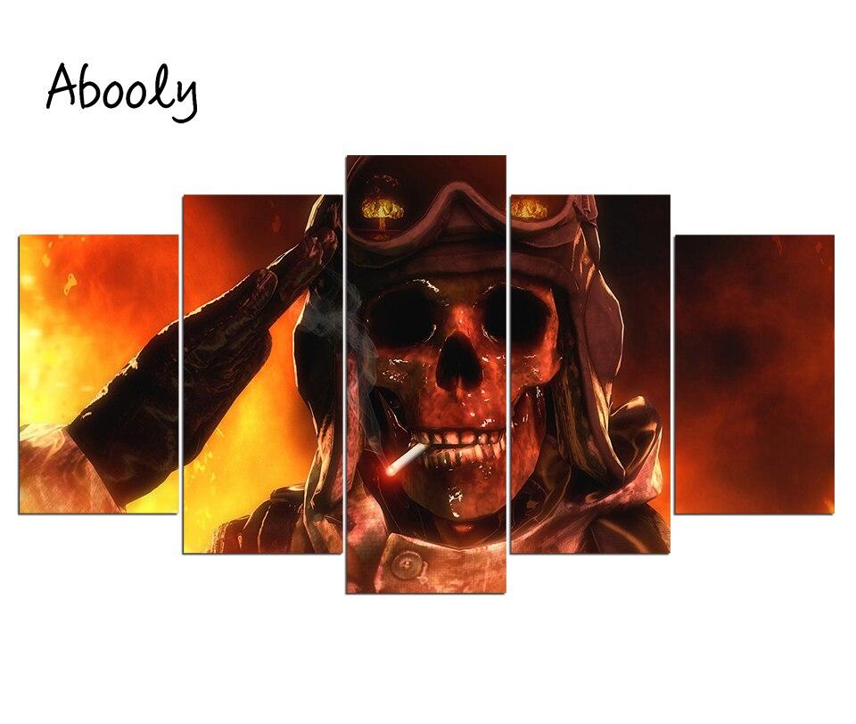 HD с 5 шт. холст Книги по искусству огонь для армия череп живопись плакат настенные панно для Гостиная Прямая доставка Холст Аватар