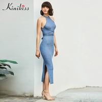 Kinikiss Women Sleeveless Bodycon Dress Sexy Bandage Cross Backless Dress Knitted Lady Summer Tight Club Split