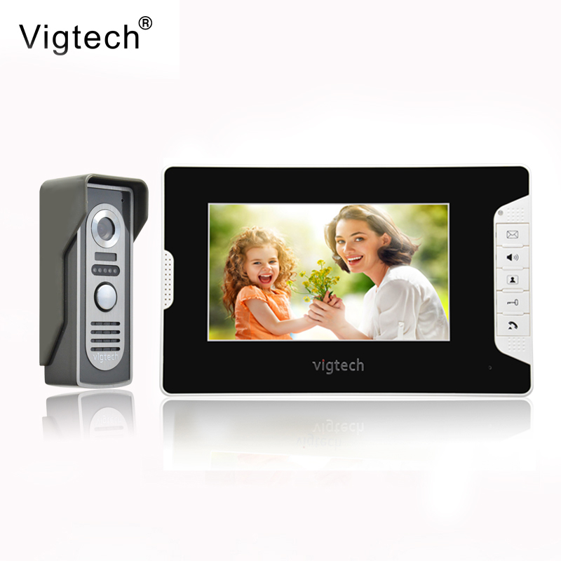 Vigtech 7 inch LCD Color Video door phone Intercom System Weatherproof Night Vision Camera Home Security FREE SHIPPING home 7 inch lcd color video doorphone intercom system weatherproof night vision bell security camera
