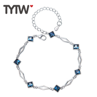 TYTW 100 S925 Sterling Silver Crystals From Swarovski Jewelry Bracelet Bangle High Quality Hot Sale Design