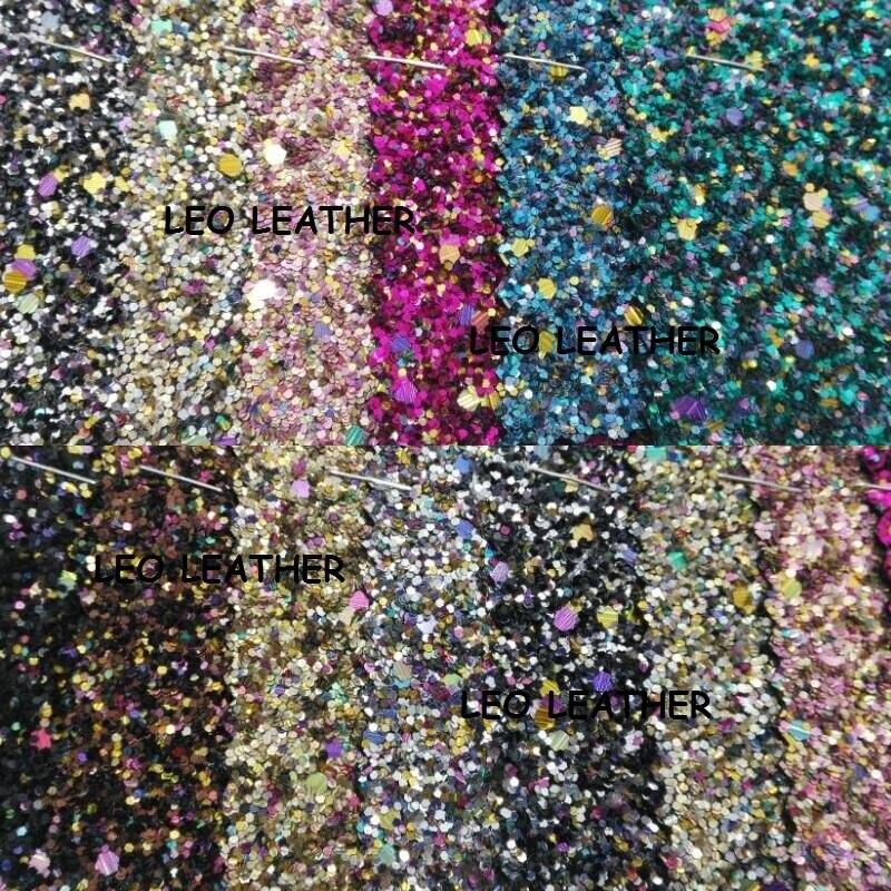90x134 cm Synthétique En Cuir Faux Cuir Tissu Chunky Glitter En Cuir Glitter Multi-couleurs Glitter En Cuir pour la Couture ARC P644