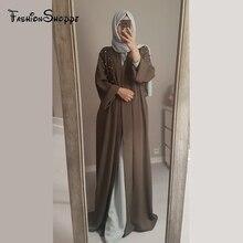 Muslim Dresses With Pearl Dubai Abaya Kimono Cardigan Plus Size Robe Casual Kaftan Maxi Dress Soft Long Women Clothing #D436