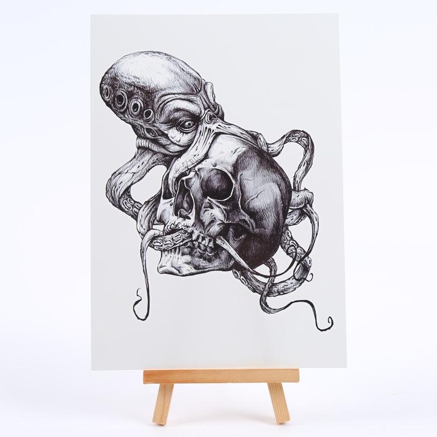 Terror Of The Octopus Killer Temporary Tattoos Men Skull Waterproof Tatoo Temporary Stickers Tatouage Temporaire Flash Tattoo