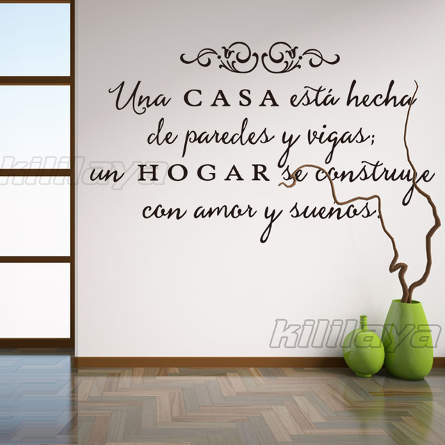 Vinyl Wall Stickers Spanish Quote Una Casa Wall Decals Removable Wall Art  Home Decor For Living
