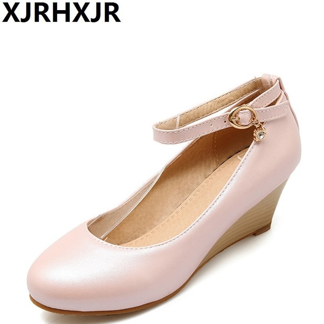 51ef5f8e48f XJRHXJR Women Spring Summer Dress Shoe Comfortable Wedges Ankle Starp  All-match Work Shoes Ladies Wedding Party Pumps