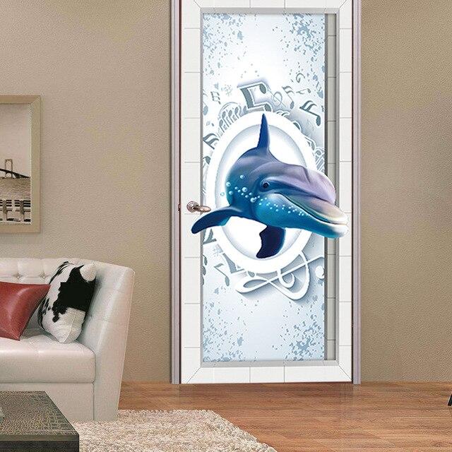 Creative Design 3D Dolphin Door Films living Room Bedroom Door Self-Adhesive Renovate Waterproof Decorative & Creative Design 3D Dolphin Door Films living Room Bedroom Door ...