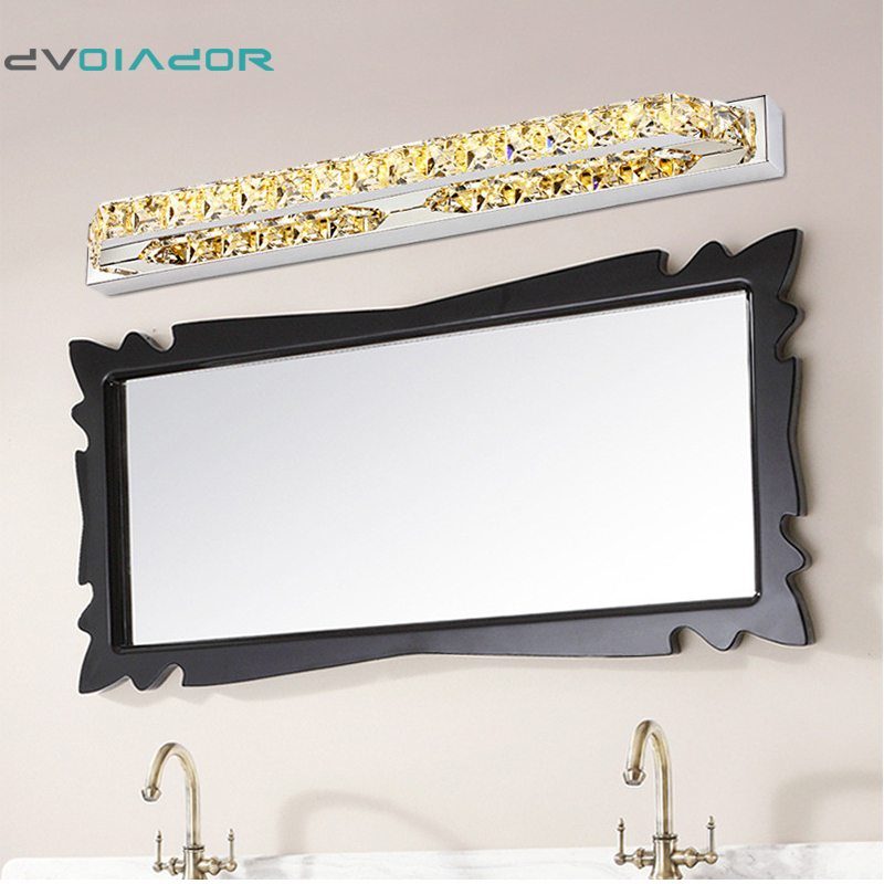 DVOLADOR Vanity LED Crystal Stainless Steel LED for Bathroom Makeup Wall Lamp 10W 14W 2835 SMD