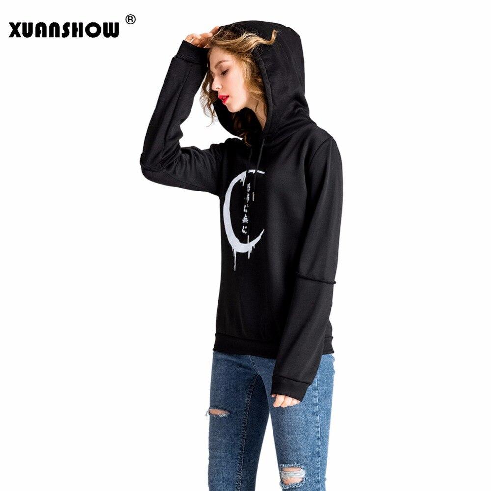 XUANSHOW 2018 Women Hoodies Harajuku Punk Moon Letters Printed Sweatshirts Winter Autumn Long Sleeve Jacket Ladies Coat Moletom