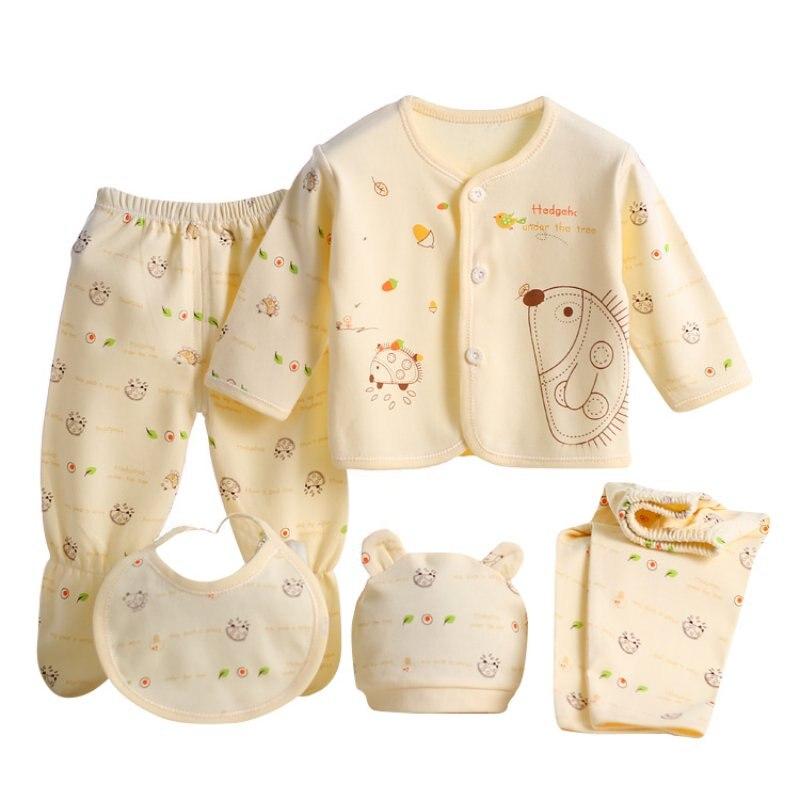 5 pcs Newborn Baby Unisex Clothes Sets Cotton T-Shirt Pants Infant Boy Girl Suits Outfits unisex newborn baby boy