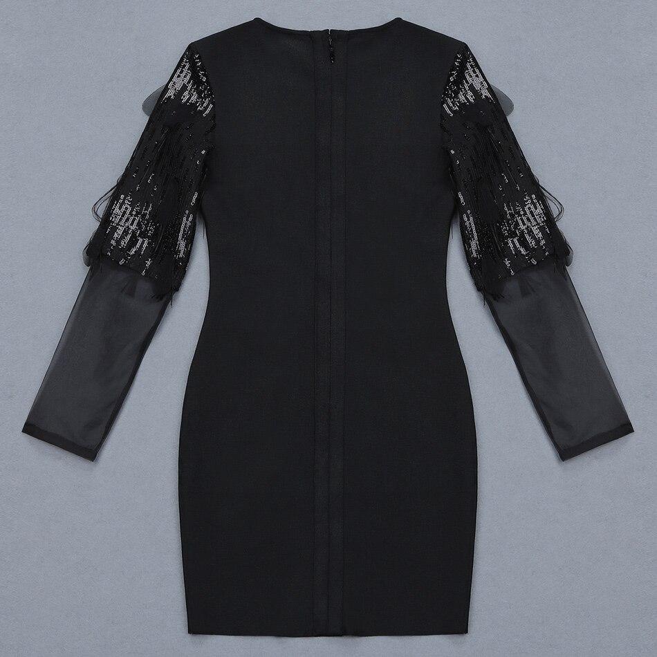 Sequin Bandage Longues Rond Gland Robe Femmes À Col Distinctif Patchwork Noir Manches Mini Féminin Maille Sablier Plume S5wqIT