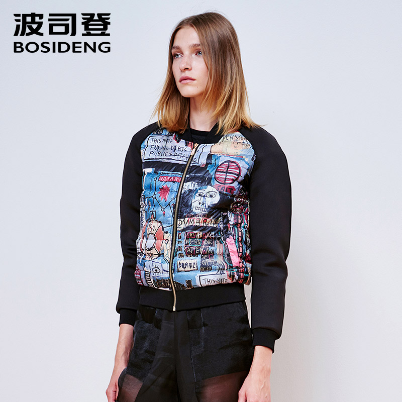 BOSIDENG Women fashion thin down coat ladiess baseball womens Clothing Hot Selling high quality outwear winter jacket B1501036