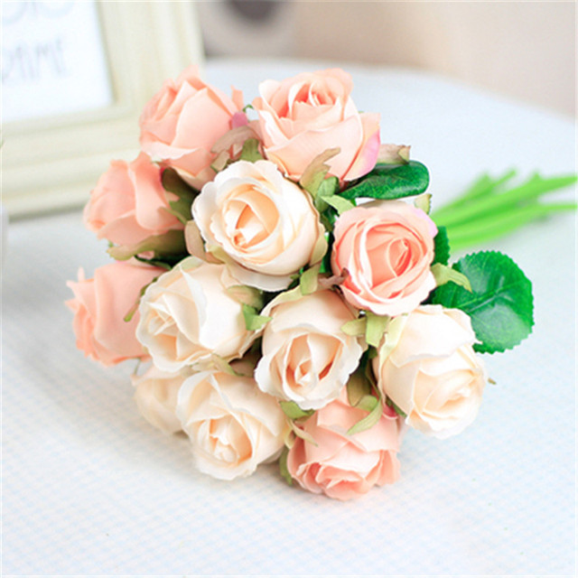 7 9 12pcs Lot Artificial Rose Flowers Wedding Bouquet New Year Pink Royal