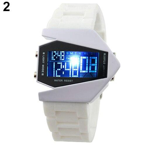 Cool Men's Oversized Design Light Digital Sports Plan Shaped Dial Electronics Wrist Watch Relojes 10