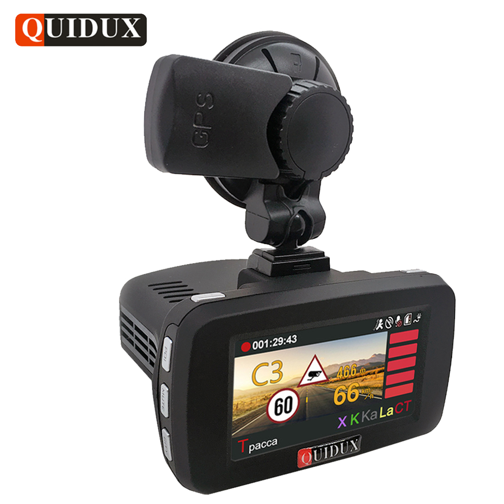 QUIDUX Russian 3 in 1 Car DVR 1296P Radar Detector transponder Ambarella Car Video Recorder Camera