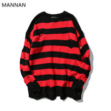 MANNAN Hip-Hop de punto de rayas suéter para hombre Vintage Patchwork  Pullover suéter de algodón de moda suéter de gran tamaño 9e7aeb002095
