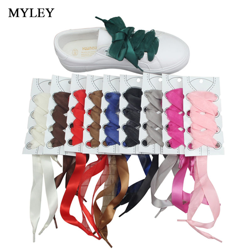 MYLEY 1 Pair 113cm Fashion Double Layer Silk Ribbon Shoelaces Colorful Shoes Laces for Casual Shoes/Canvas Shoes With 2cm Width brown satin ribbon shoelace 2cm width