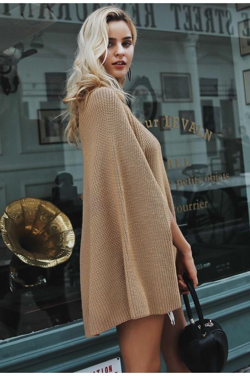 Women Knitted turtleneck cloak sweater 21