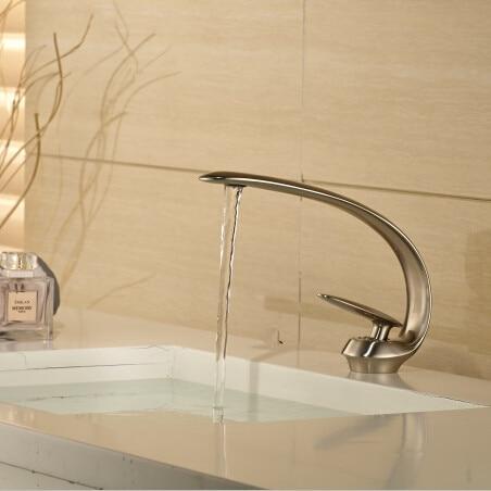 2015 New NIckel basin mixer washbasin design Bathroom faucet mixer waterfall Hot and Cold Water taps for basin of bathroom dhl waterfall washbasin design bathroom faucet mixer hot and cold water taps for basin of bathroom kf877