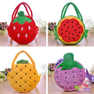 Child baby bags princess portable cross-body dual-use package double zipper watermelon fruit school bag student gift