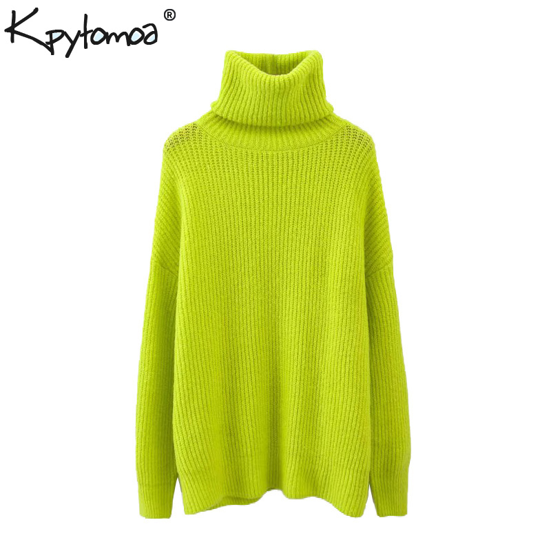 Vintage Stylish Oversized Knitted Sweater Women 2019 Fashion High Neck Long Sleeve Loose Ladies Pullovers Casual Pull Femme