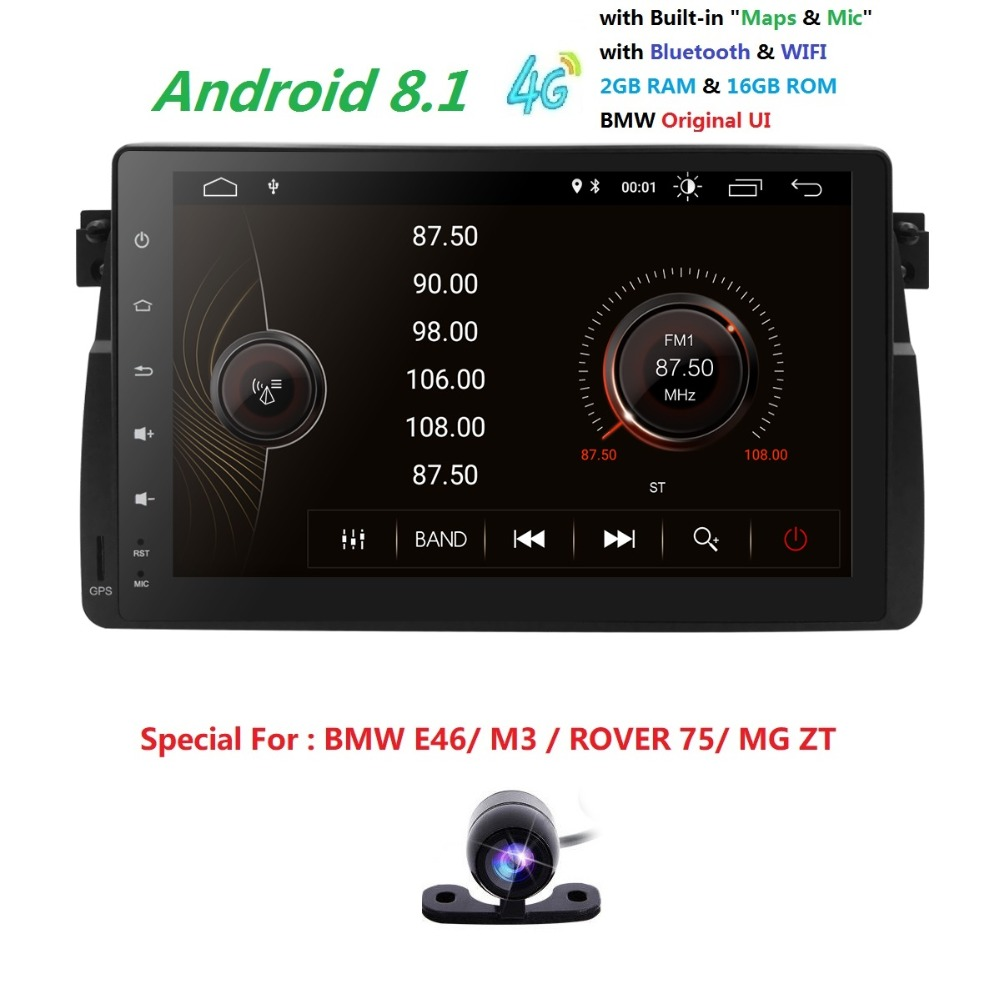 9''Android8.1 Quadcore HD1024*600 screen 2DIN Car DVR GPS Radio stereo For BMW E46 M3 wifi 4G GPS USB SWC AUDIO DVB-T2 BLUETOOTH