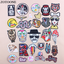 ZOTOONE Iron On Skull Owl Military Patching For Clothes DIY Flower Snake Letter Sequin Patch Applications Applique D