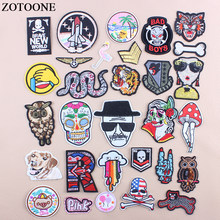 ZOTOONE Iron On Skull Owl Military Patching For Clothes DIY Flower Snake Letter Sequin Patch Applications For Clothes Applique D(China)