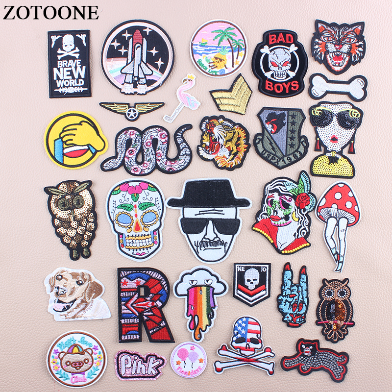 ZOTOONE Iron On Skull Owl Military Patching For Clothes DIY Flower Snake Letter Sequin Patch Applications For Clothes Applique D