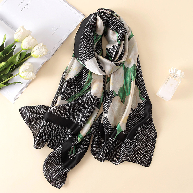 2019 fashion women beach   scarf     wrap   female shawl summer pareo classic chiffon bandanna ladies muffler foulard   scarves   flowered