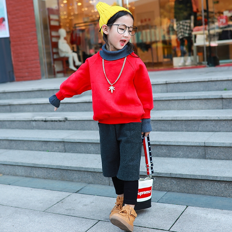 Girls Winter Sweater Cashmere Suit Plus 2017 New Korean Female Children Are Western Style Trousers Thickened In Autumn And Winte charter club new purple cashmere crew neck sweater msrp $129 00