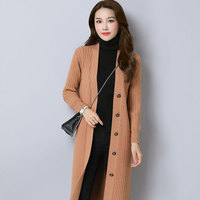 2017 Autumn Single Breasted Stripe Jacquard Weave Knitwear Solid Color Midi Pattern All Matched Long Sleeve