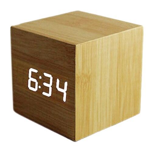 Wood Cube LED Alarm Control Digital Desk Clock Wooden Style Room Temperature Bamboo wood led