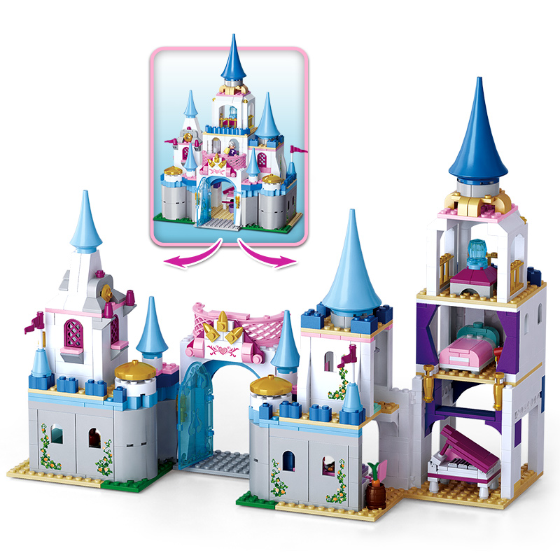 SLUBAN 815 pcs Enchanted Castle Building Blocks Sapphire Princess Castle Girl Friends Kids Legoings Model Toys Marvel