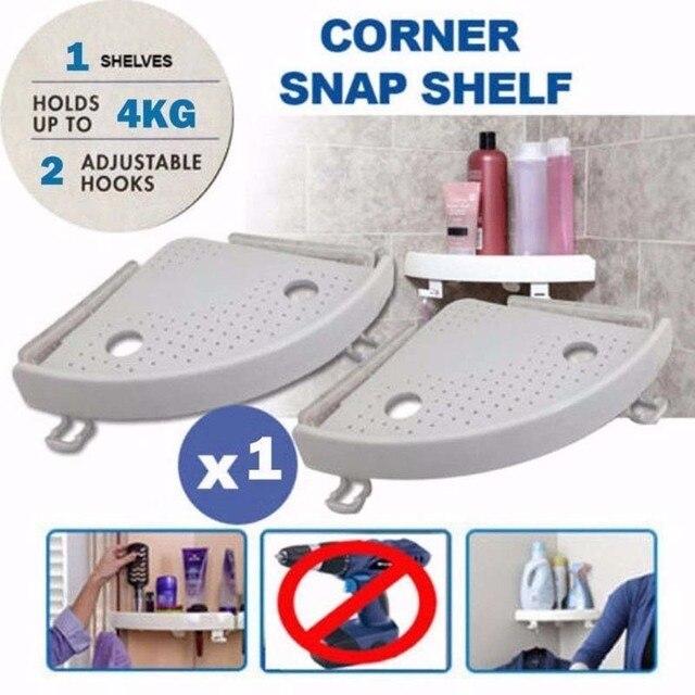 Snap Up Prateleira de Canto Prateleira do banheiro Prateleira Do Chuveiro de Plástico Shampoo Cosméticos Rack Início da Parede Da Cozinha Titular Gancho De Armazenamento Prateleiras YS-49