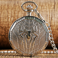 Mechanical Pocket Watch Steampunk Cool Spiderman Hand Wind Skeleton Carving Hollow Fashion Roman Numerals Modern Pendant Chain