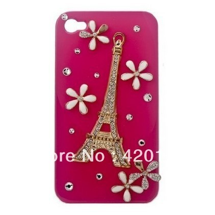 3D Jewelry Gem Crystal Rhinestone Eiffel Tower Case, Cover for Apple iPhone 4 And 4S