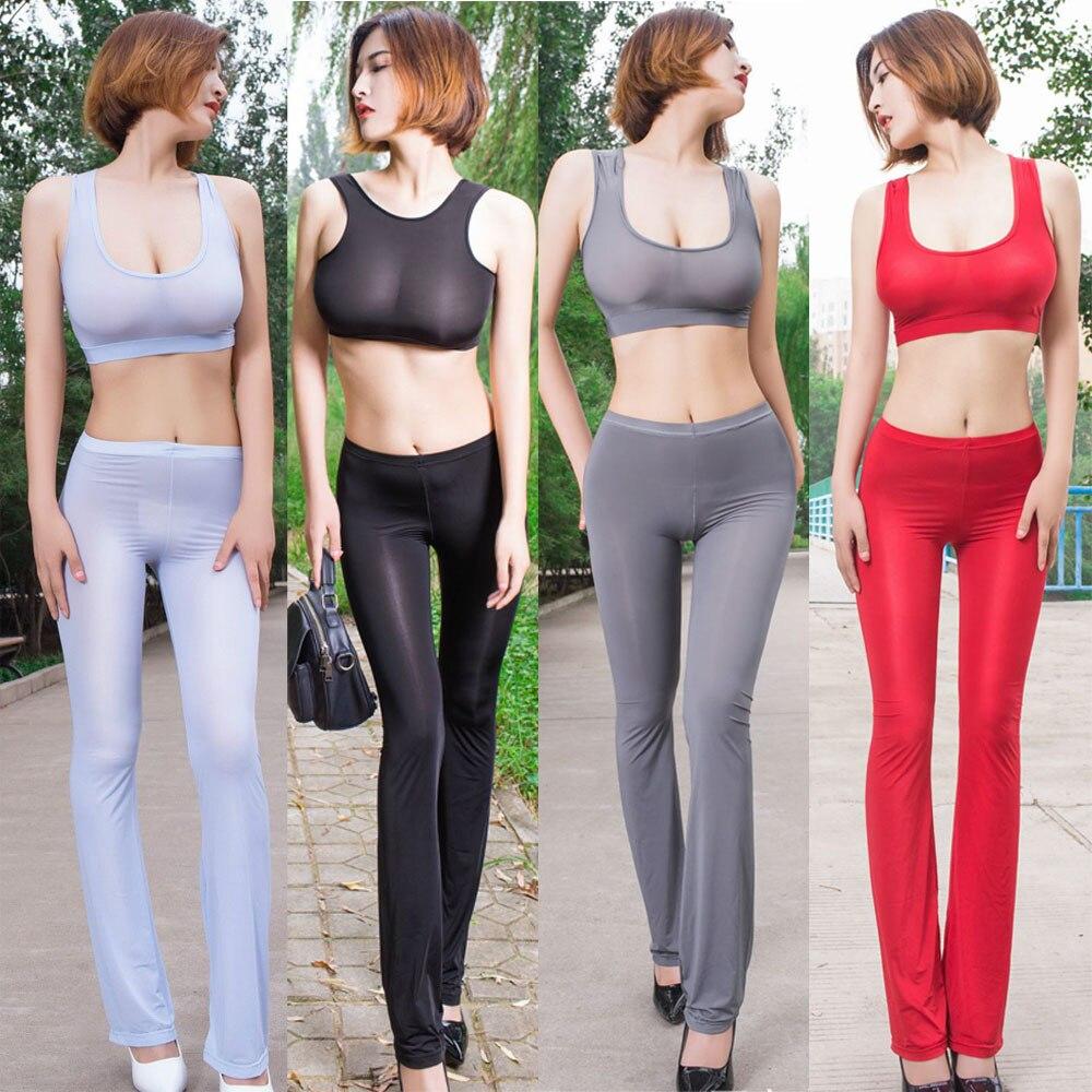 Plus Size Wetlook Sexy Transparent Flare Pants Women Fetish Palazzo Pants Candy Color Fitness Legging Roupas Feminina Pantalon