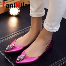 ladies real genuine leather flat shoes women pointed toe party spring fashion brand  vintage footwear shoes size 33-40 R08658