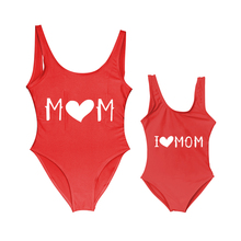 One-Piece Swimsuit New Kid LOVE Cute MOM Girls Letter Printing Baby