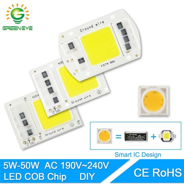 GreenEye LED COB Lamp Chip 5W 20W 30W 50W Input Smart IC Driver 220V 110V Fit For DIY LED Floodlight Spotlight Cold / Warm White