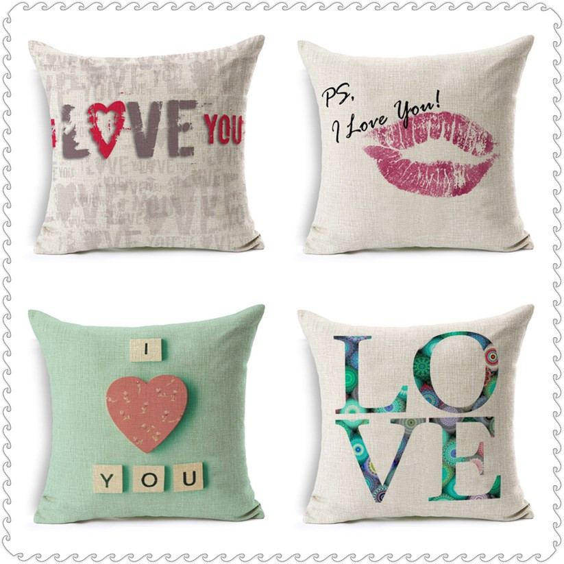 Love Heart Pattern Scandinavian Cushion cover I love you Letter Pillow Covers Christmas Lovers Gifts Warm Home Cheap Decor PC379