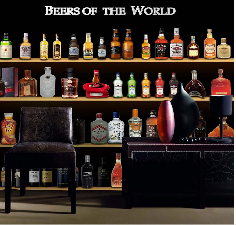 Bar Wallpaper: 3d Wallpaper For Room Bar Bar Counter Bottle Living Style