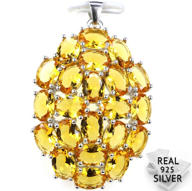 Guaranteed Real 925 Solid Sterling Silver 6.7g Ravishing Top Golden Citrine Pendant 41x26mmGuaranteed Real 925 Solid Sterling Silver 6.7g Ravishing Top Golden Citrine Pendant 41x26mm