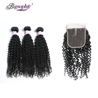 Bigsophy Indian Kinky Curly Weave Human Hair Extension 3 Bundles With Lace Closure Remy Hair 10 to 28 Inch Nature Color Can Dyed
